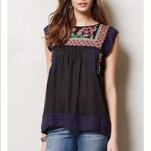 Anthropologie Floreat Kyra Embroidered Top